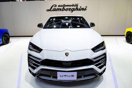 Nonthaburi , Thailand - April 3, 2019: Lamborghini Urus white super sport cars presented in motor show . Editorial