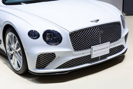 Nonthaburi , Thailand - April 3, 2019: close up front view The New Bentley Continental GT suv luxury sport car presented in motor expo Thailand .
