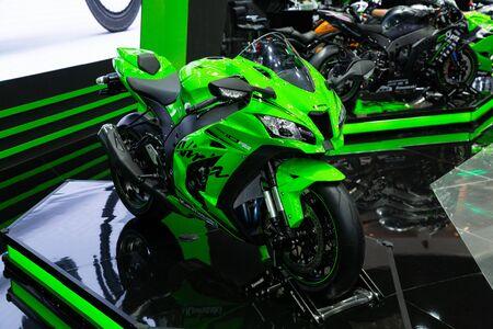 Nonthaburi , Thailand - April 3, 2019: close up body of Kawasaki Ninja ZX-10RR bigbike green color presented in motor show thailand .