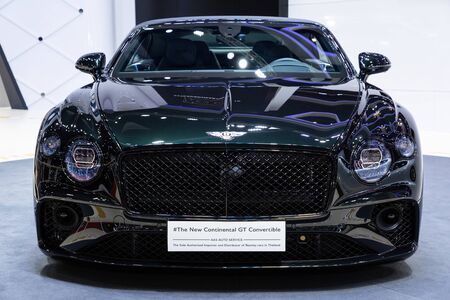 Nonthaburi , Thailand - April 3, 2019: close up front view The New Bentley Continental GT Convertible suv luxury super car presented in motor show Thailand .