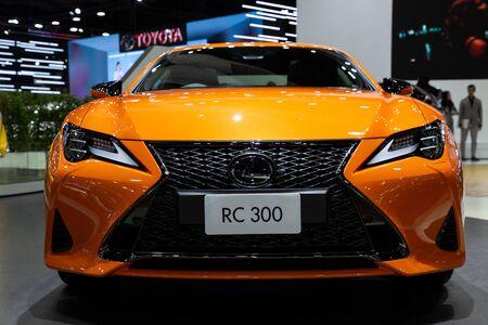 Nonthaburi , Thailand - April 3, 2019: close up front view of Lexus RC 300 orange car presented in motor show Thailand . Editorial