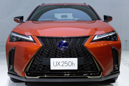 Nonthaburi , Thailand - April 3, 2019: close up front view of Lexus UX 250 h sports car presented in motor show Thailand .