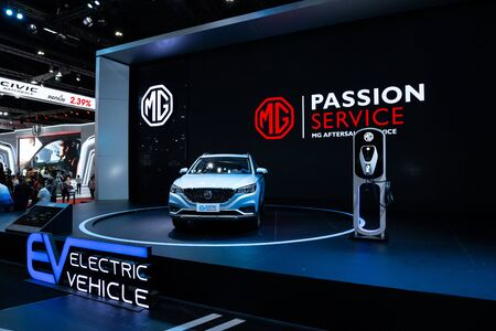 Thailand - April , 2019 : close up MG EV Electric vehicle presented in motor show Thailand .