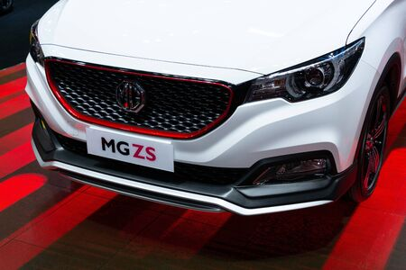 Thailand - April , 2019 : close up MG ZS Electric car presented in motor show Thailand .