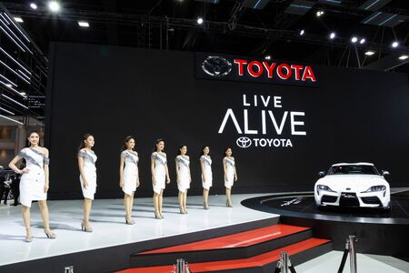 Thailand - April , 2019 : Toyota Supra GR and pretty woman presented in motor show Thailand .