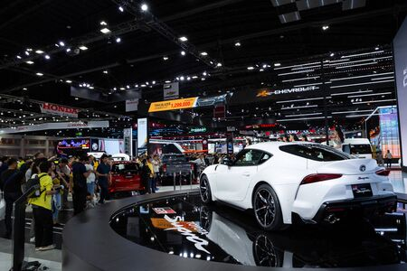 Thailand - April , 2019 : people and Toyota Supra GR presented in motor show Thailand .