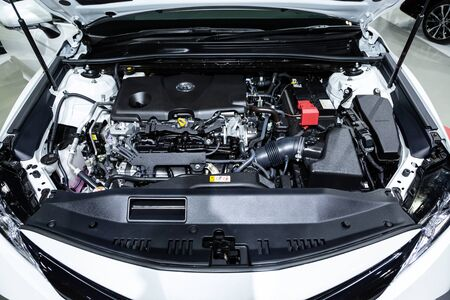 Thailand - April , 2019 : close up Toyota motor and engine in garage fix room .