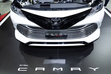 Thailand - April , 2019 : close up front view of Toyota all-new Camry TRD Sportivo car presented in motor show . Editöryel