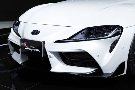 Thailand - April , 2019 : close up front view of Toyota Supra GR sports car presented in motor show Thailand .