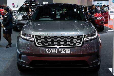Thailand - April , 2019 : close up grey Land Rover Range Rover car presented in motor show Thailand . Editöryel