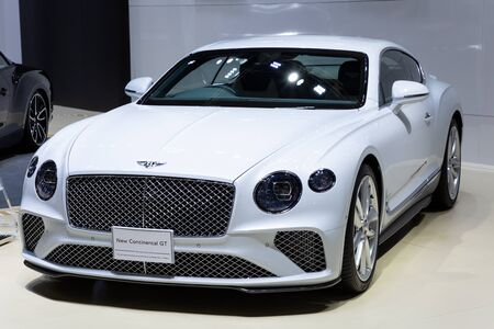 Thailand - April , 2019 : close up Bentley New Continental GT presented in motor show Thailand .