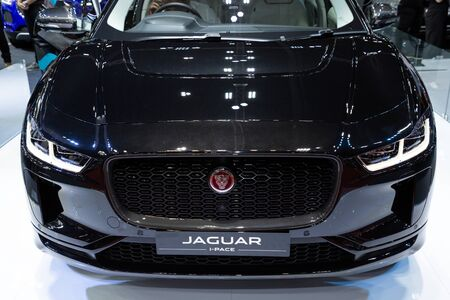 Thailand - April , 2019 : close up Jaguar i-pace black car presented in motor show Thailand . Editöryel