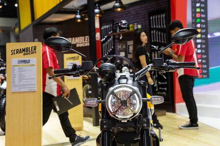 Thailand - Apr , 2019 : close up Ducati Scrambler 1100 motorbike presented in motor show Nonthaburi Thailand