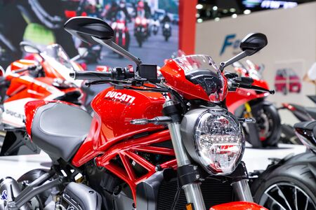 Thailand - Apr , 2019 : close up Ducati Monster motorbike presented in motor show Nonthaburi Thailand Editöryel
