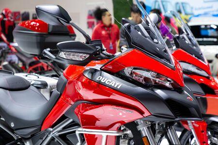 Thailand - Apr , 2019 : close up Ducati Multistrada 950 motorbike presented in motor show Nonthaburi Thailand