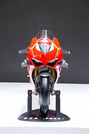 Thailand - Apr , 2019 : close up Ducati Panigale v4 motorbike presented in motor show Thailand . Editöryel