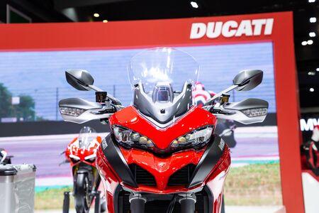 Thailand - Apr , 2019 : close up Ducati Multistrada 250s motorbike presented in motor show Thailand .