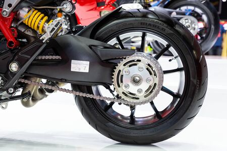 Thailand - Apr , 2019 : close up wheel and tire of Ducati motorbike presented in motor show Thailand .