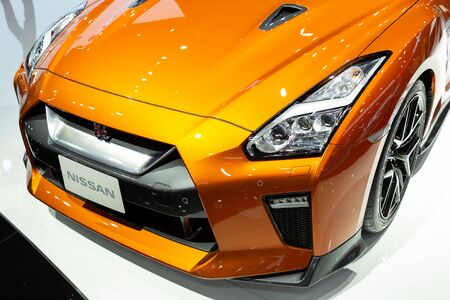 Nonthaburi , Thailand - April , 2019: close up headlight front view of Nissan GTR presented in motor show Thailand .