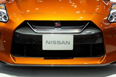 Nonthaburi , Thailand - April , 2019: close up front view of Nissan GTR presented in motor show Thailand .