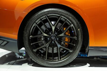Nonthaburi , Thailand - April , 2019: close up max alloy wheels of Nissan GTR presented in motor show Thailand . Editöryel