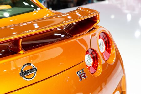 Nonthaburi , Thailand - April , 2019: close up taillights rare view of Nissan GT-R super sport car presented in motor show Thailand .