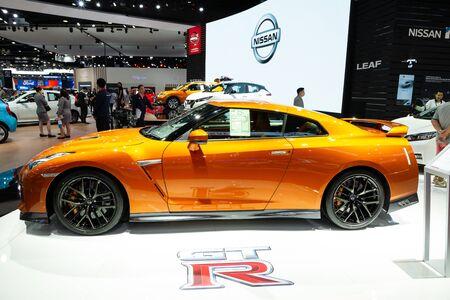 Nonthaburi , Thailand - April , 2019: Nissan GT-R super sport car presented in motor show Thailand .
