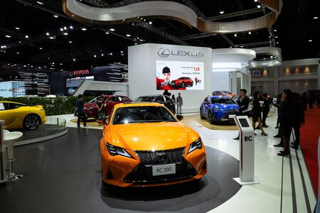 Thailand - April 3, 2019: Lexus RC 300 orange color car presented in motor show Thailand .