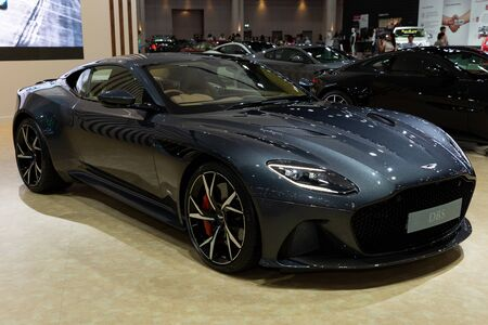 Thailand - April 3, 2019: close up body of Aston Martin DBS luxury car presented in motor show Thailand .