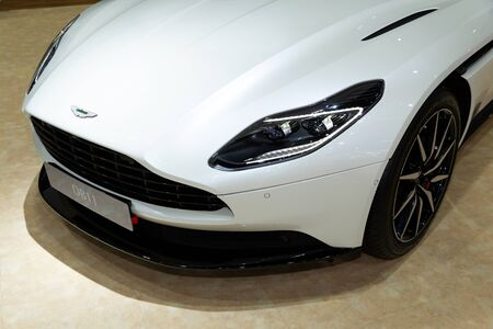Thailand - April 3, 2019: close up front view headlight of Aston Martin DB11 luxury car presented in motor show Thailand .