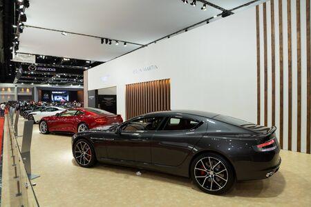Thailand - April 3, 2019: Aston Martin luxury car presented in motor show Thailand .