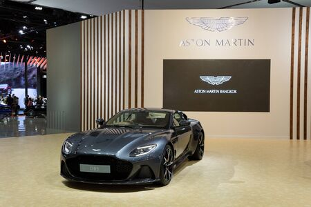 Thailand - April 3, 2019: close up Aston Martin DBS luxury car presented in motor show Thailand . Editöryel