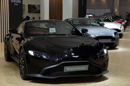 Thailand - April 3, 2019: close up Aston Martin Vantage luxury car presented in motor show Thailand . Editöryel
