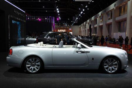 Thailand - April 3, 2019: close up body of Rolls Royce luxury car presented in motor show Thailand . Editöryel
