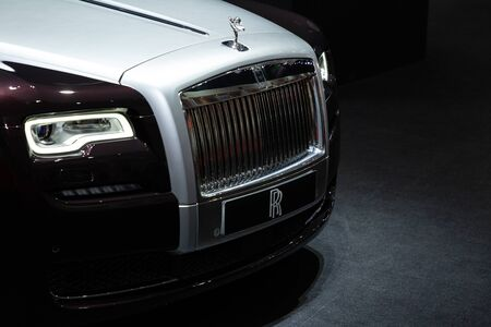 Thailand - April 3, 2019: close up front view headlight of Rolls Royce luxury car presented in motor show Thailand .