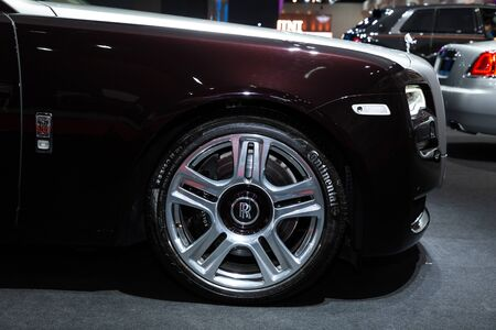 Thailand - April 3, 2019: close up wheel and tire of Rolls Royce luxury car presented in motor show Thailand .