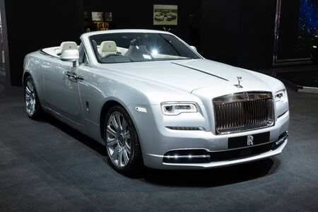 Thailand - April 3, 2019: close up front view of Rolls Royce luxury car presented in motor show Thailand .