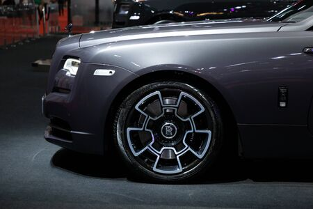 Thailand - April 3, 2019: close up wheel and tire of Rolls Royce presented in motor show Thailand .