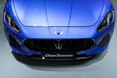 Thailand - April 3, 2019: close up front view of Maserati granturismo blue color luxury car presented in motor show Thailand . Editöryel