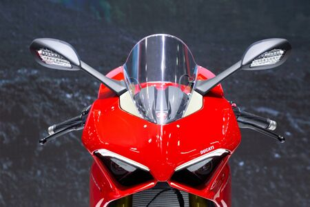Thailand - April , 2019: Ducati Panigale V4s on display at Thailand International Motor Show Editorial
