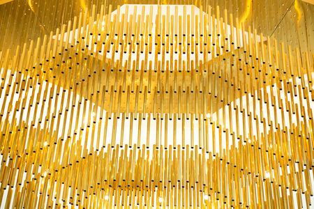 gold luxury hanging chandelier decoration in premium hotel