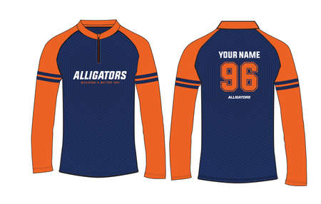 Sports long sleeve t-shirt jersey design vector template, mock up sports kit with front and back view Ilustração