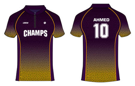 Sports t-shirt jersey design vector template, mock up sports kit with front and back view