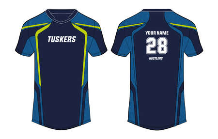 Sports t-shirt jersey design vector template, mock up sports kit with front and back view Vektorgrafik
