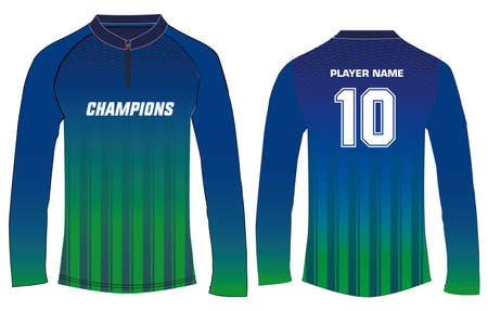 Sports long sleeve t-shirt jersey design template, mock up uniform kit with front and back view