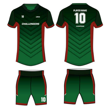 Sports t-shirt jersey design template with shorts, mock up uniform kit with front and back view