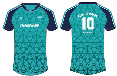 Sports t-shirt jersey design vector template, mock up sports kit with front and back view Vetores