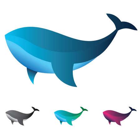 Whale  made with golden ratio principles, Emblem or  vector template suitable professional company  and  brand  in 3 color option