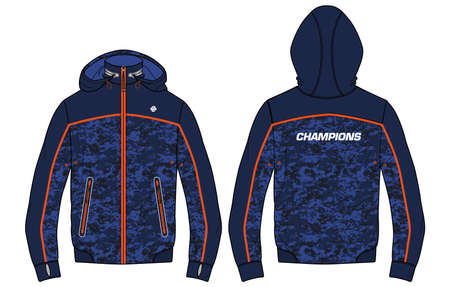 Camouflage Long sleeve sports Hoodie jacket design template in vector, Hooded jacket with front and back view, hoodie winter jacket for Men and women. for training, Running and workout in winter.