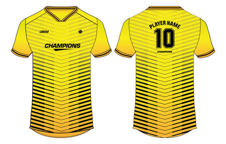 Sports jersey t-shirt design concept vector template, sports jersey concept with front and back view for Soccer, Cricket, Football, Volleyball, Rugby, tennis, badminton and e-sports uniform.